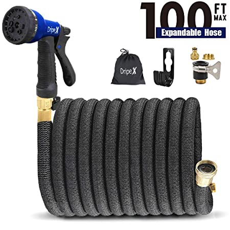 Amazon.com : [LIFETIME REPLACEMENT]No-Kink 100ft Expandable Garden Water Hose with Double Latex Core Dripex 3/4 Solid Brass Fitting And 8 Function Spray ...