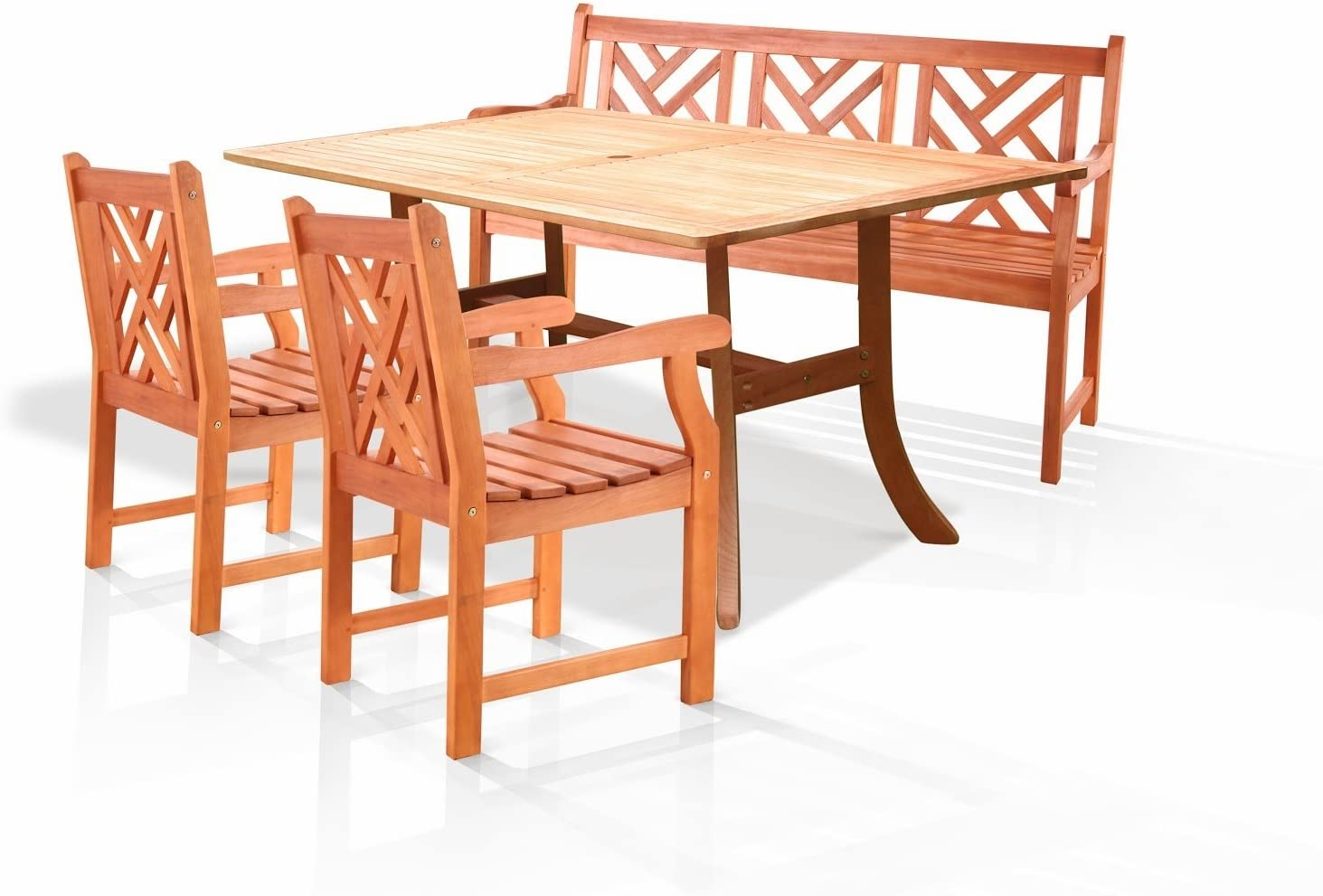 B001G5O8FQ VIFAH V187SET1 Outdoor Wood 4-Piece Dining Set, Natural Wood Finish, 59 by 36 by 29-Inch 714YXsQVQ6L.SL1500_
