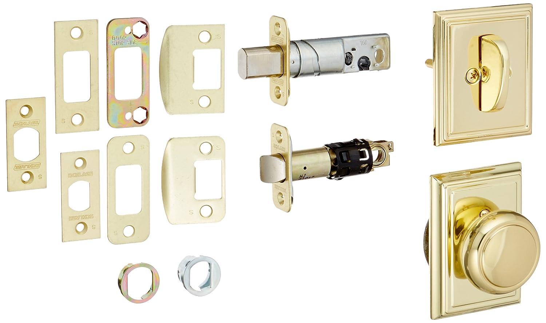Schlage f59andadd内部パックAndover内部パックノブセットwith Single円柱デッドボルトと装飾Addisonローズ F59-AND-ADD 1 B00E4WRRXI 光沢真鍮 光沢真鍮