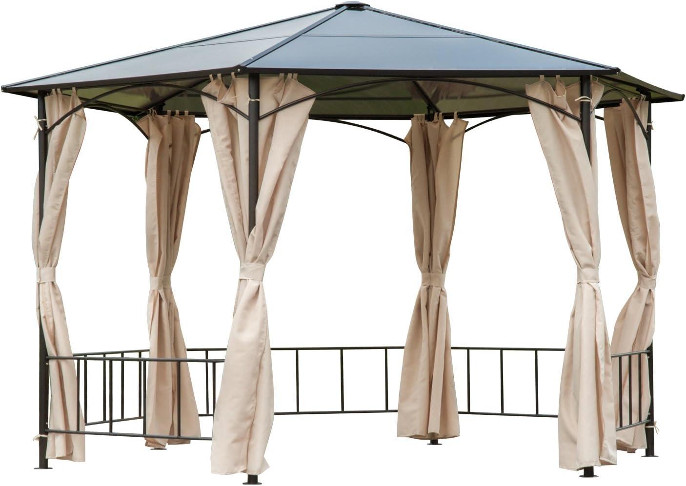 Outsunny - Carpa de Metal para Patio Hexagonal de 2 m con toldo de policarbonato y Cortina de Pared: Amazon.es: Jardín