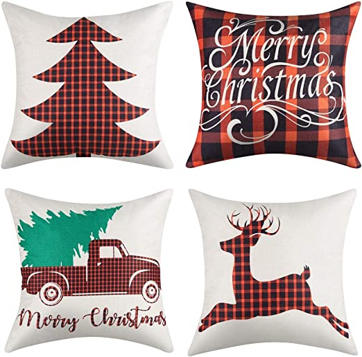 Amazon Com 16x16 Christmas Throw Pillow Covers Decorative Outdoor Farmhouse Buffalo Plaid Plad Merry Christmas Xmas Red Truck Moose Christmas Tree Pillow Shams Cases Slipcovers Set Of 4 For Couch Sofa Home