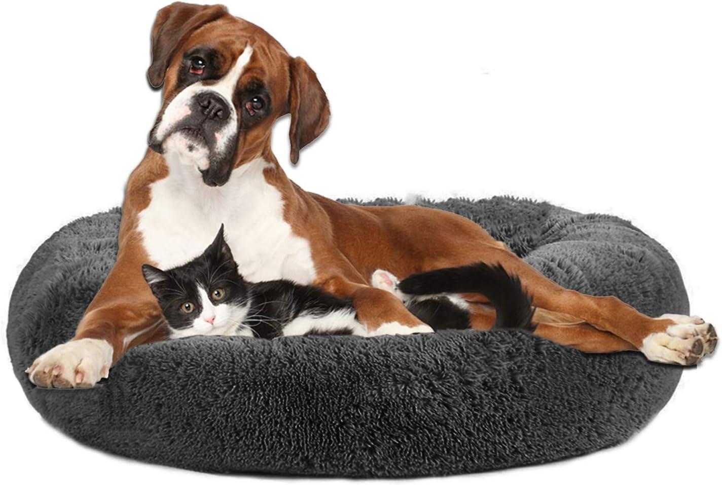 Pejoye Redonda Felpa Cama Perro Gato, Cama calmante para Grande Pequeño Mascota Invierno, Cómoda y Lavable, 50/60/70CM, Gris Claro/Gris Oscuro/Rosa/Caqui/Albaricoque