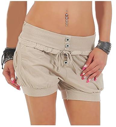 Malito Damen Hotpants in Unifarben   lockere Kurze Hose   Bermuda für den Strand   Pants - Shorts - klassisch 6086