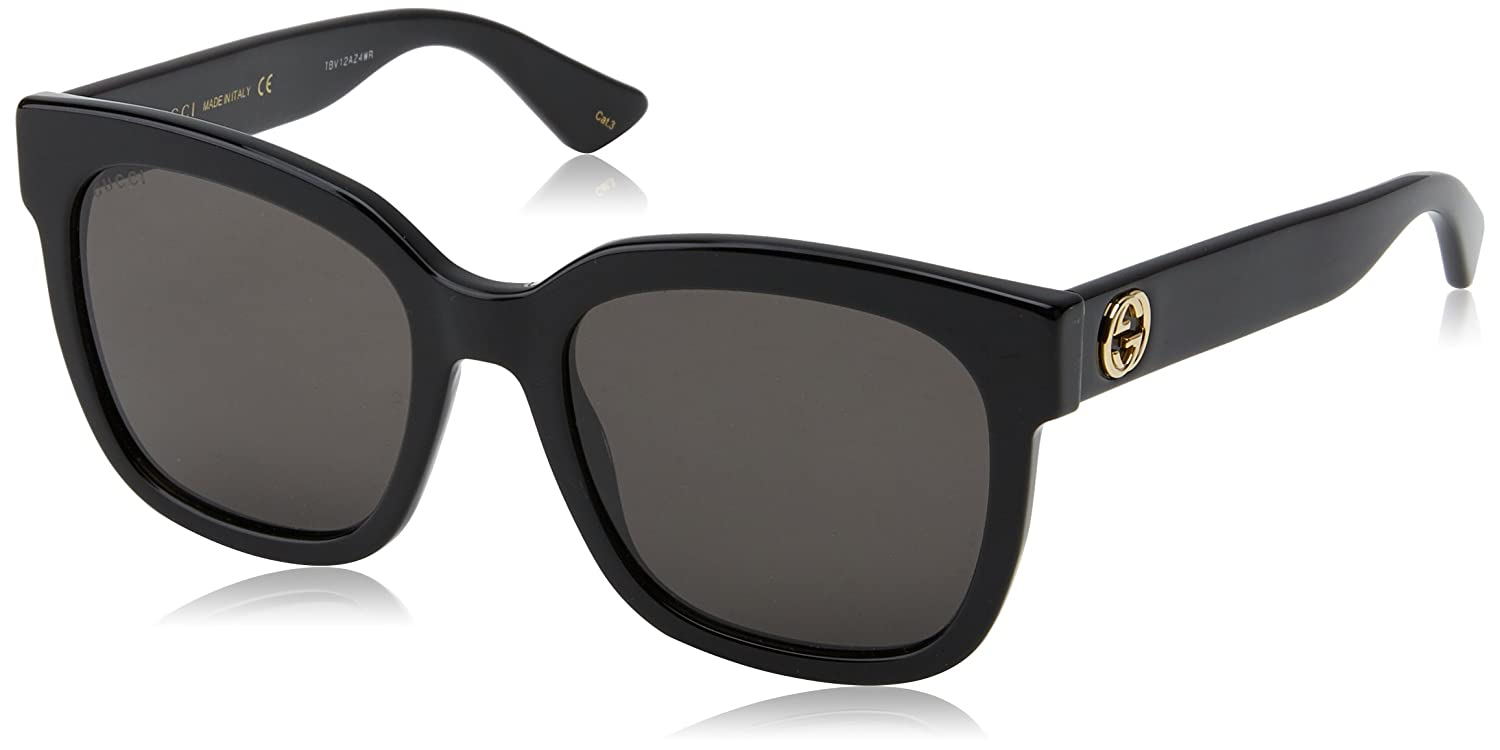 Gucci Damen Sonnenbrille GG0036S 002, Schwarz (Black/Brown), 54