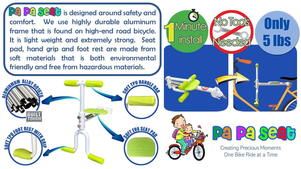 PaPaSeat Portable Light Weight Fast Install Child Bike Seat, Works with All City Bikes (USA, Canada, Paris, Milan, Warsaw, Tokyo, Taipei…) by PaPaSeat (Image #9)