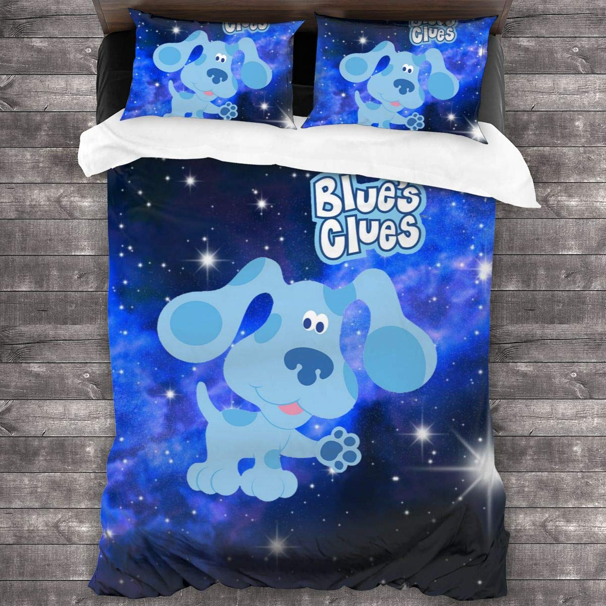 RHGASU BMAIEG SuperLee Children's Blue's Clues Dog Bedding Set Queen, Decorative 3 Piece Bedding Set with 2 Pillow Cases,3-Piece Bedding Set 89inch89inch