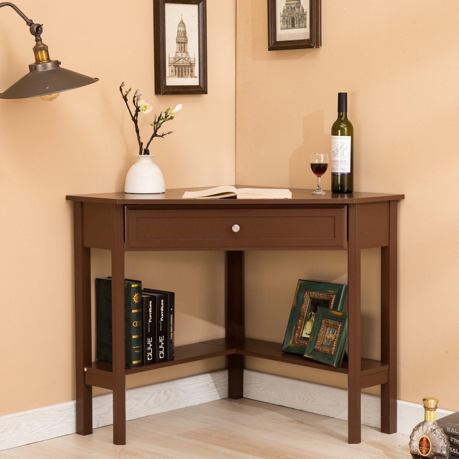 Mecor Espresso Corner Computer Desk/Table with Drawer & Shelf-Wood Corner Computer Laptop Desk for Writing, Work etc-Home Office Use
