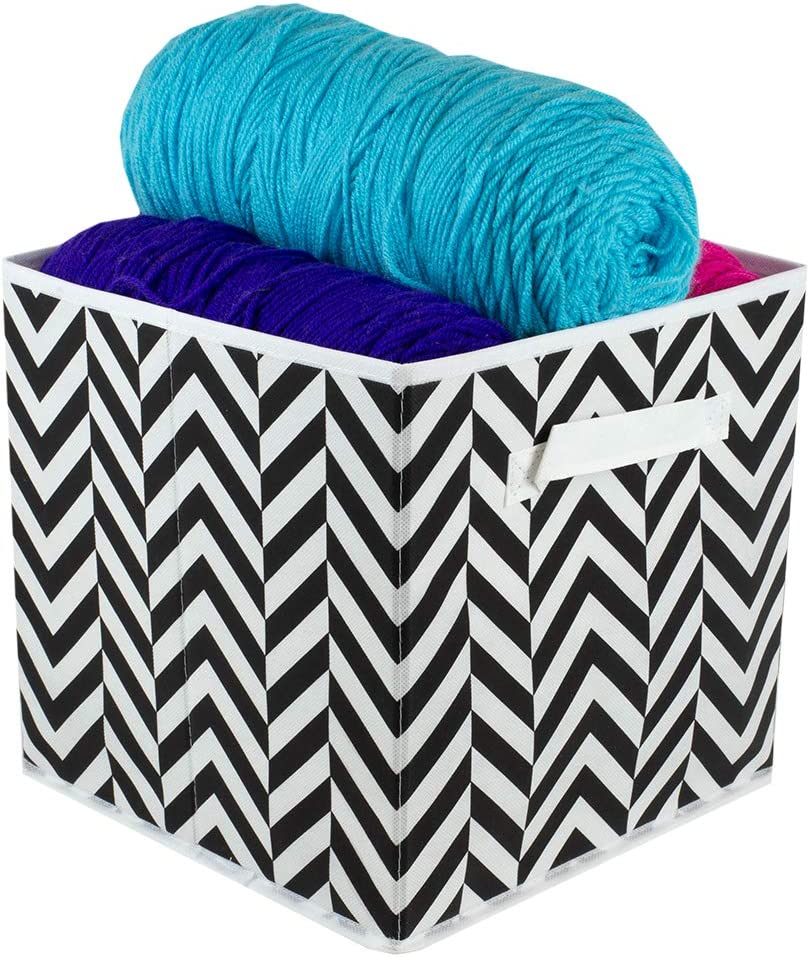 Home Basics Chevron Non-Woven Storage Bin Cube Basket Box, Dual Handles & Removable Bottoms Collapsible Foldable for Home Decor Office Closet Bedroom Drawer Toy Organizer Everyday Use (Black