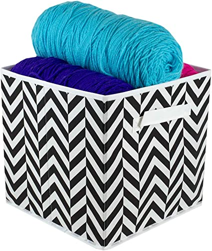 Home Basics Chevron Non Woven Storage Bin Cube Basket Box Dual Handles Removable Bottoms Collapsible Foldable For Home Decor Office Closet Bedroom Drawer Toy Organizer Everyday Use Black Home Kitchen Amazon Com