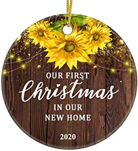 JUPPE Our First Christmas in Our New Home 2020 Ornament Mr & Mrs Newlywed Sunflower Decoration Romantic Couples Gift (Brown-1)