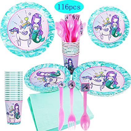 Amazon.com: Mermaid Unicorn suministros de fiesta, Serve 16 ...