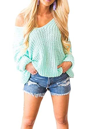 4f8c5fde03e Chellysun Women Sexy V Neck Batwing Sleeve Sweater One Shoulder Chunky  Cable Knit Casual Pullover Jumpers
