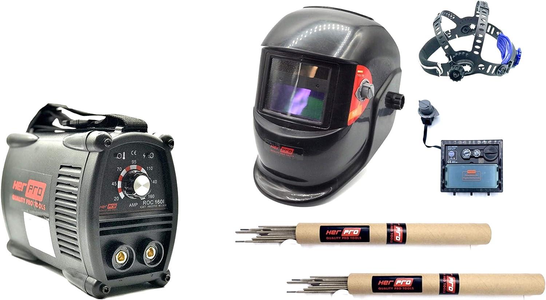 HERPRO Mini Soldador Inverter ROC 160I, 160 Amperios al 60%, ANTI STICK, ARC FORCE, HOT START, EMC, Electrodos de 1,6mm a 4,00mm Valido con Generador, ...