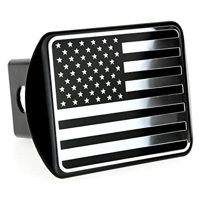 "eVerHITCH USA US American Flag Stainless Steel Emblem on Metal Trailer Hitch Cover (Fits 2"" Receivers, Black & Chrome): Automotive"