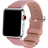 Fullmosa Compatible Apple Watch Bands 38mm 40mm 42mm 44mm Women Calf Leather Compatible iWatch Band Compatible iWatch Series 4 Series 3 Series 2 Series 1, 38mm 40mm Pink