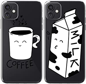 Mertak TPU Couple Cases Compatible with iPhone 12 Pro Max Mini 11 SE Xs Xr 8 Plus 7 6s Black Kiss Soulmate Boyfriend Silicone Milk Girlfriend Design Kawaii Relationship Protective Cute Coffee White