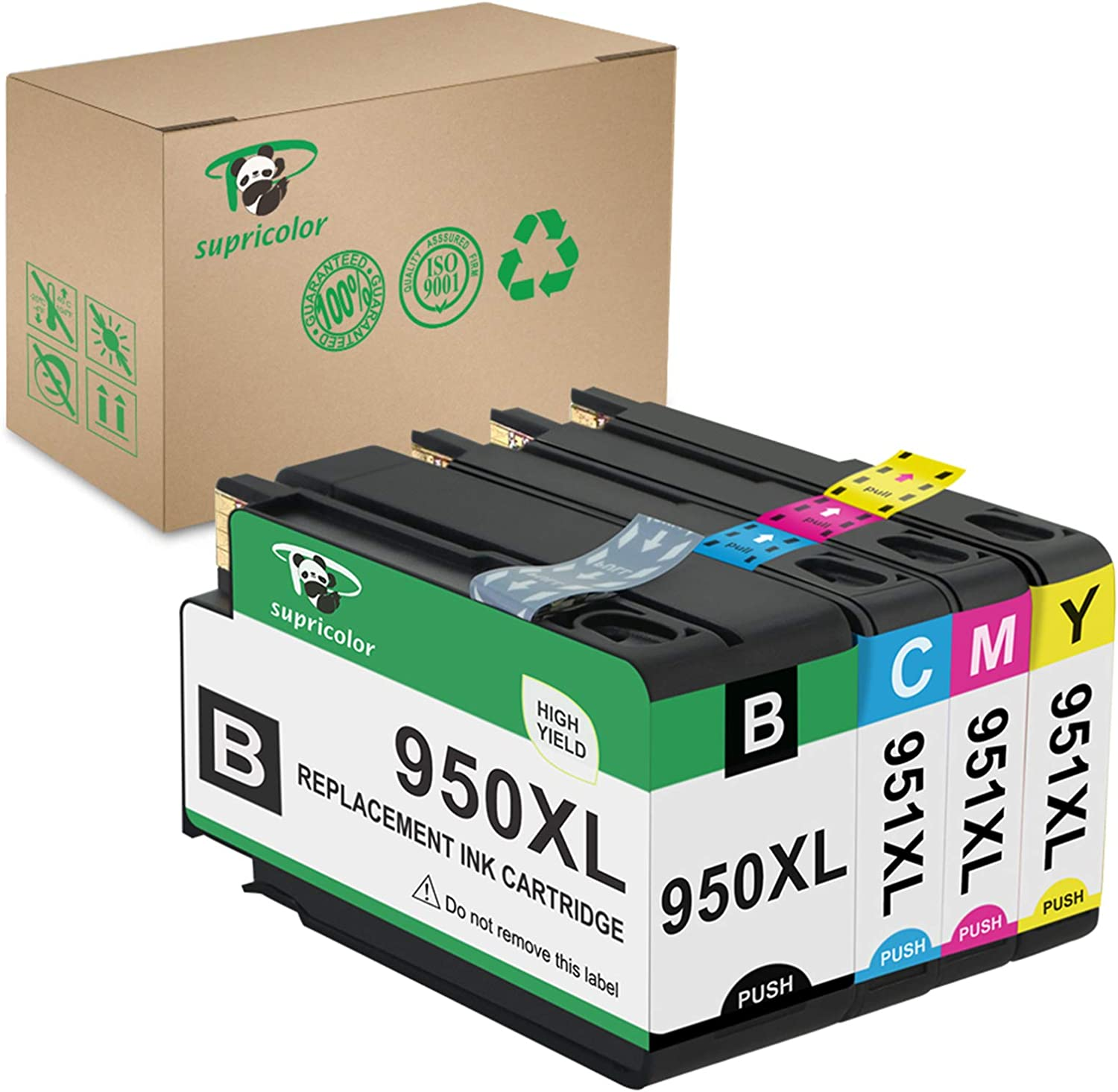 Supricolor 950XL 951XL Ink Cartridges High Yield, Replacement 950 951 Inks Works with OfficeJet Pro 8600 8610 8620 8630 8660 8640 8615 8625 276DW 251DW 271DW Printers 1 Set (BK/C/M/Y)