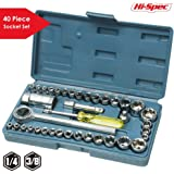 "Hi-Spec 40 Piece SAE & Metric Socket Set including 1/2"" and 3/8"" Reversible Ratchet Handle & 1/4"" Socket Drive Spinner Handle, all in Sturdy Blow Mold Case"