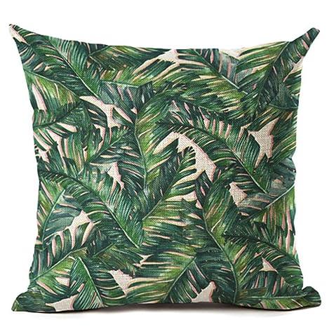 Funda de cojín de ZHOUBA, de tela, diseño de plantas y hojas verdes tropicales, para decoración del hogar, Lino, 5 Green Leaves, talla única