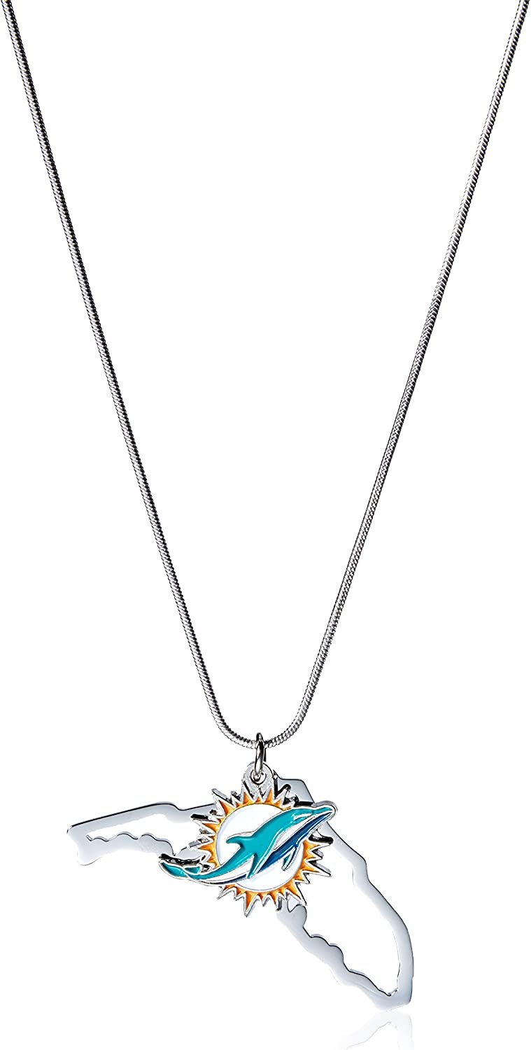 NFL Siskiyou Sports Womens Miami Dolphins State Charm Necklace 18 inch Team Color