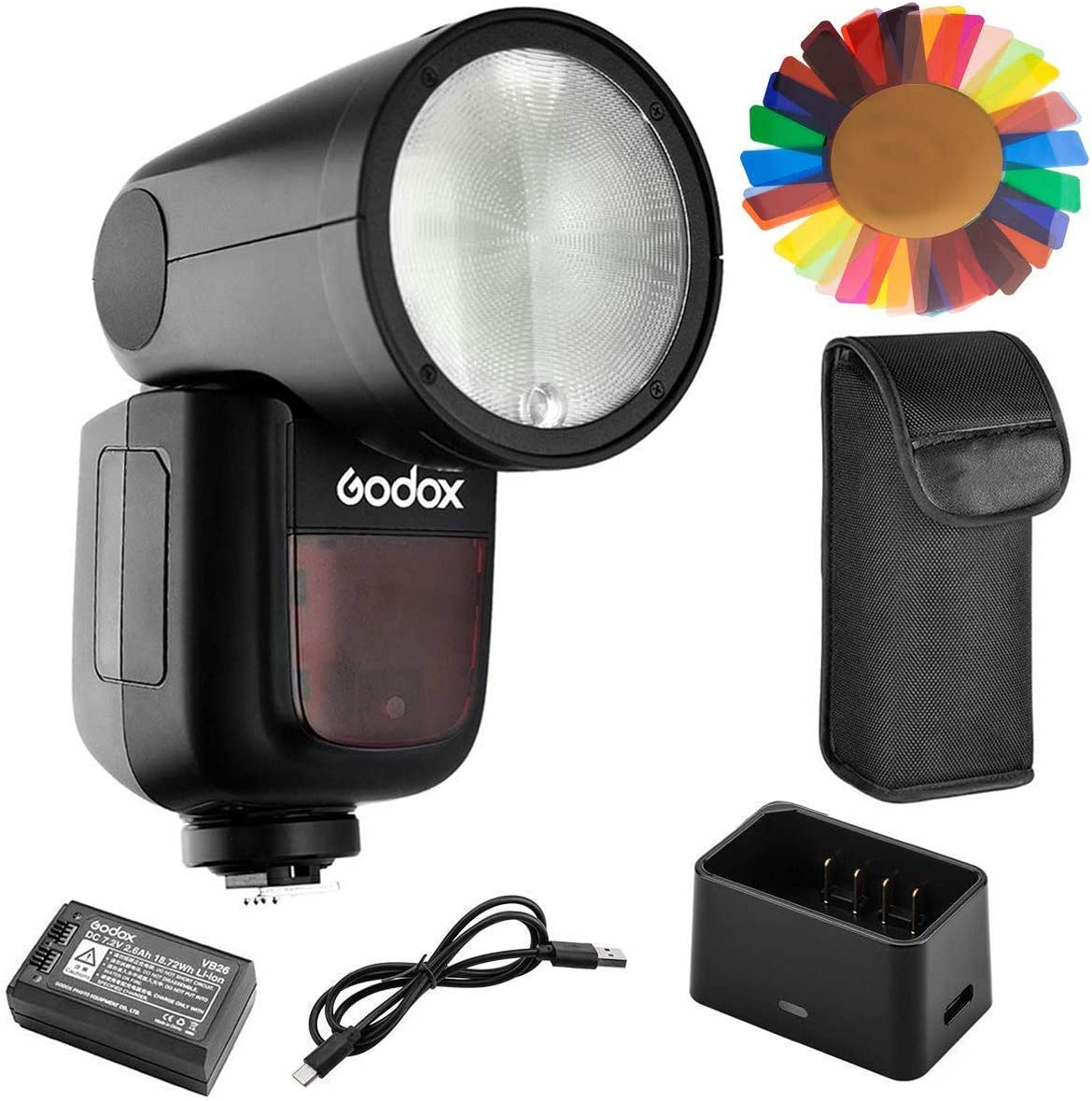 Godox V1-C Flash for Canon, 76Ws 2.4G TTL Round Head Flash Speedlight, 1/8000 HSS, 480 Full Power Shots, 1.5s Recycle Time, 2600mAh Lithium Battery, 10 Level LED Modeling Lamp, W/Pergear Color Filters