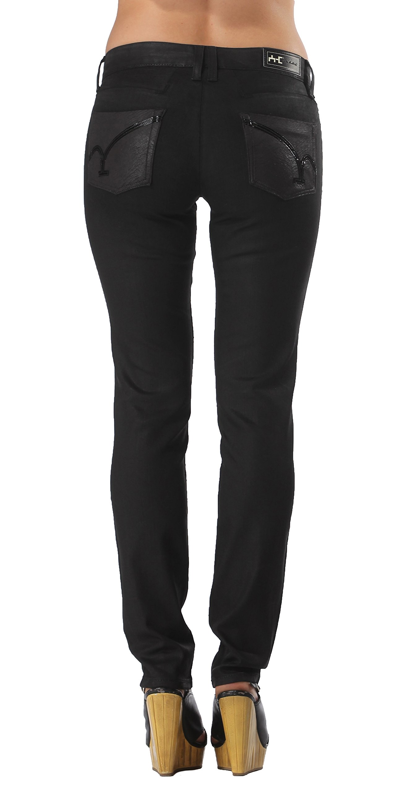 Coated Stretch Black Skinny Jeans | Low Rise Fitted Skinny Jeans for Women Juniors (25)