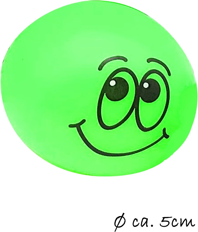 Blau Smiley Splatter-Ball mit Wasser gef/üllt Splatt-Ball Klatsch-Ball Squeeze-Toy JustRean Toys Happy Splash-Ball