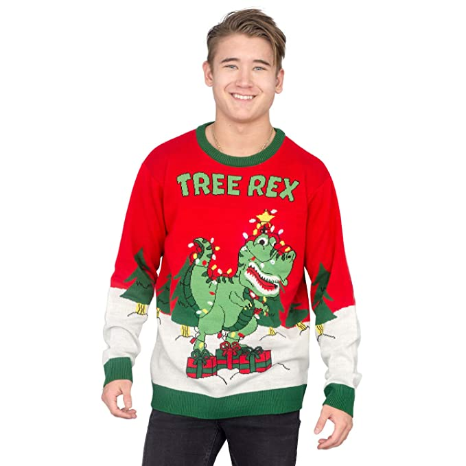 T Rex Ugly Christmas Sweater.Tree Rex Light Up T Rex Adult Ugly Christmas Sweater