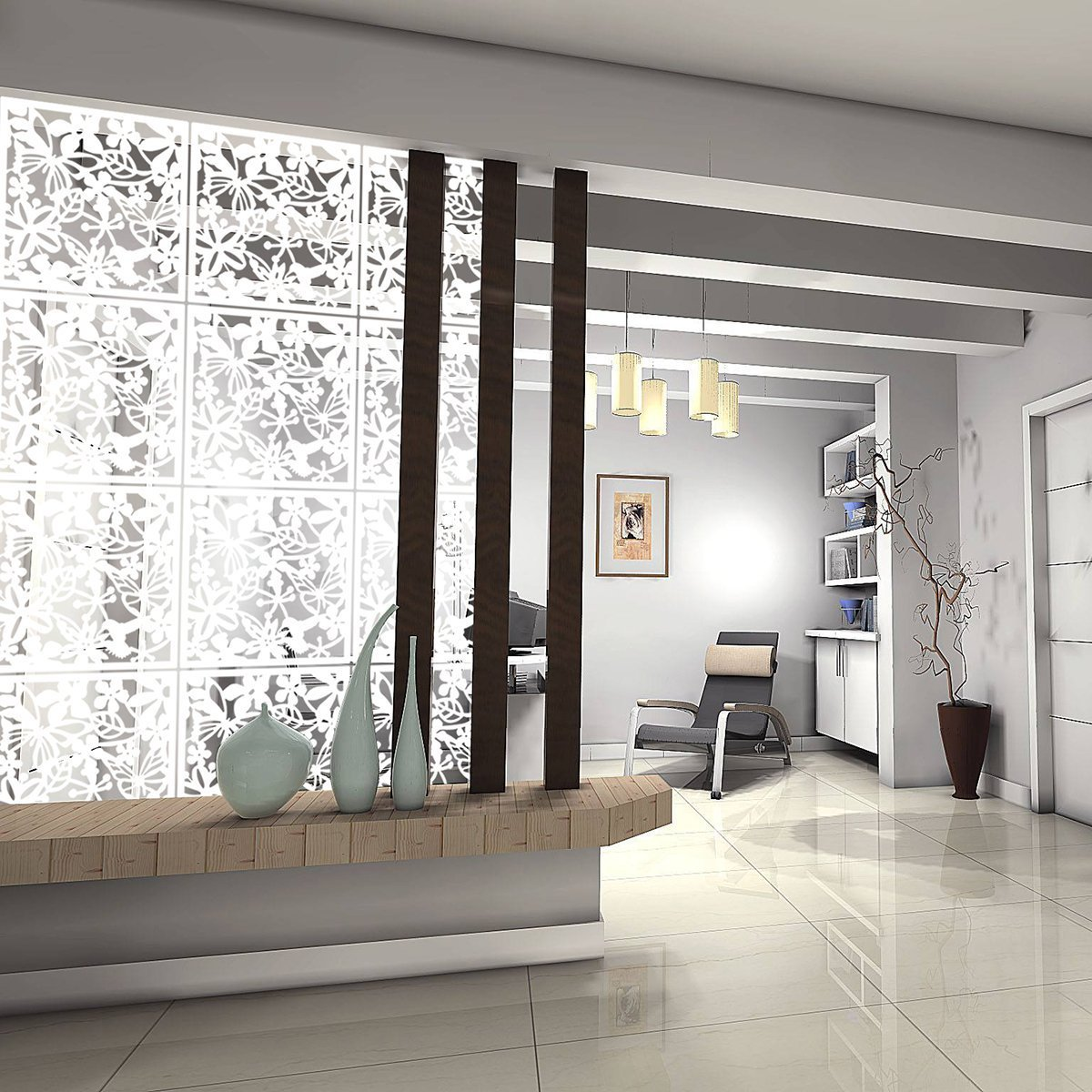 Kernorv DIY Hanging Room Divider Made Environmentally PVC, 12 PCS Partitions Panels Screen Decorating Bedding, Dining, Study Sitting-room, Hotel, Bar Office. (12, White)