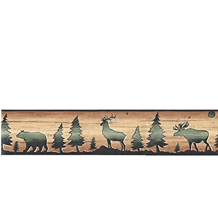 Wallpaper Border David Carter Brown Lodge Bear Deer Elk