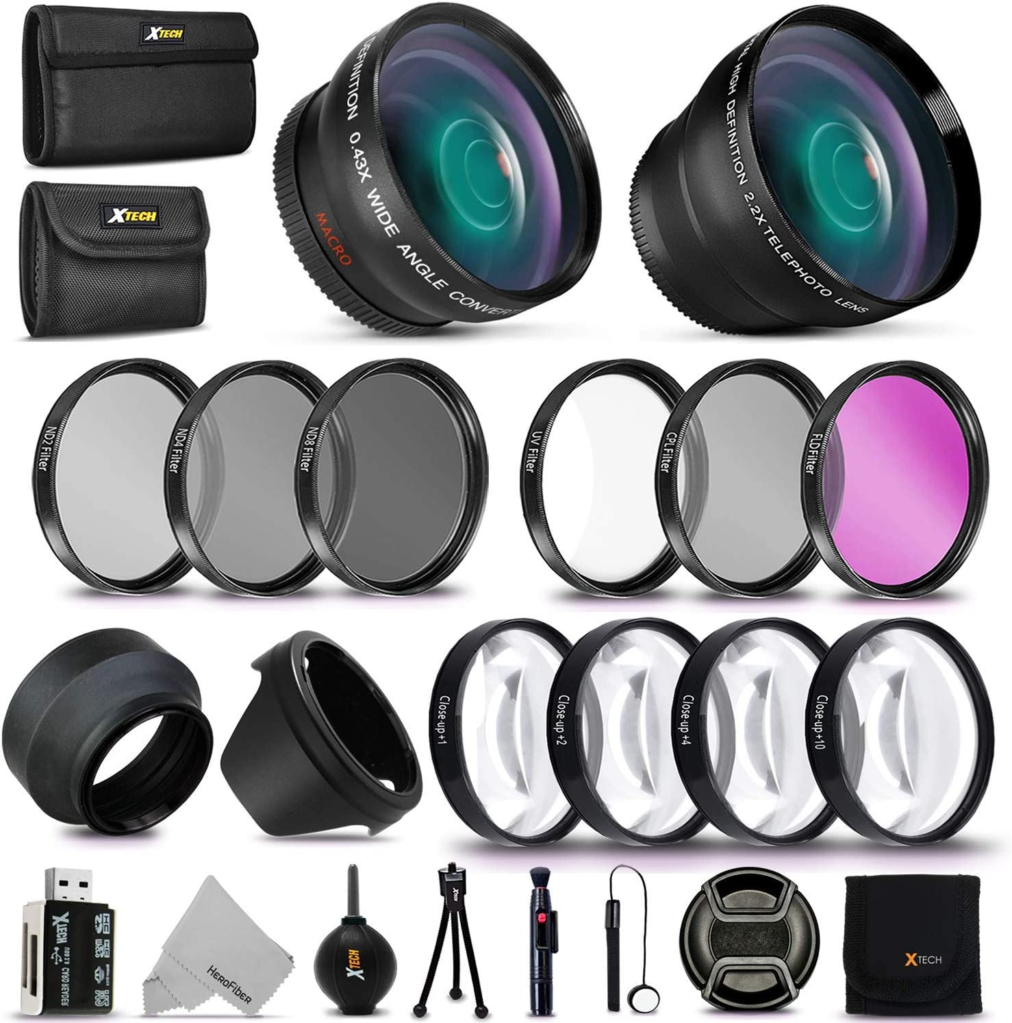 UV, CPL, ND4, ND2, ND4, ND8 and Macro Lens Set for Canon EOS 70D 77D 80D Rebel T7 T7i T6i T6s T6 SL2 SL3 DSLR Cameras 58MM Complete Lens Filter Accessory Kit
