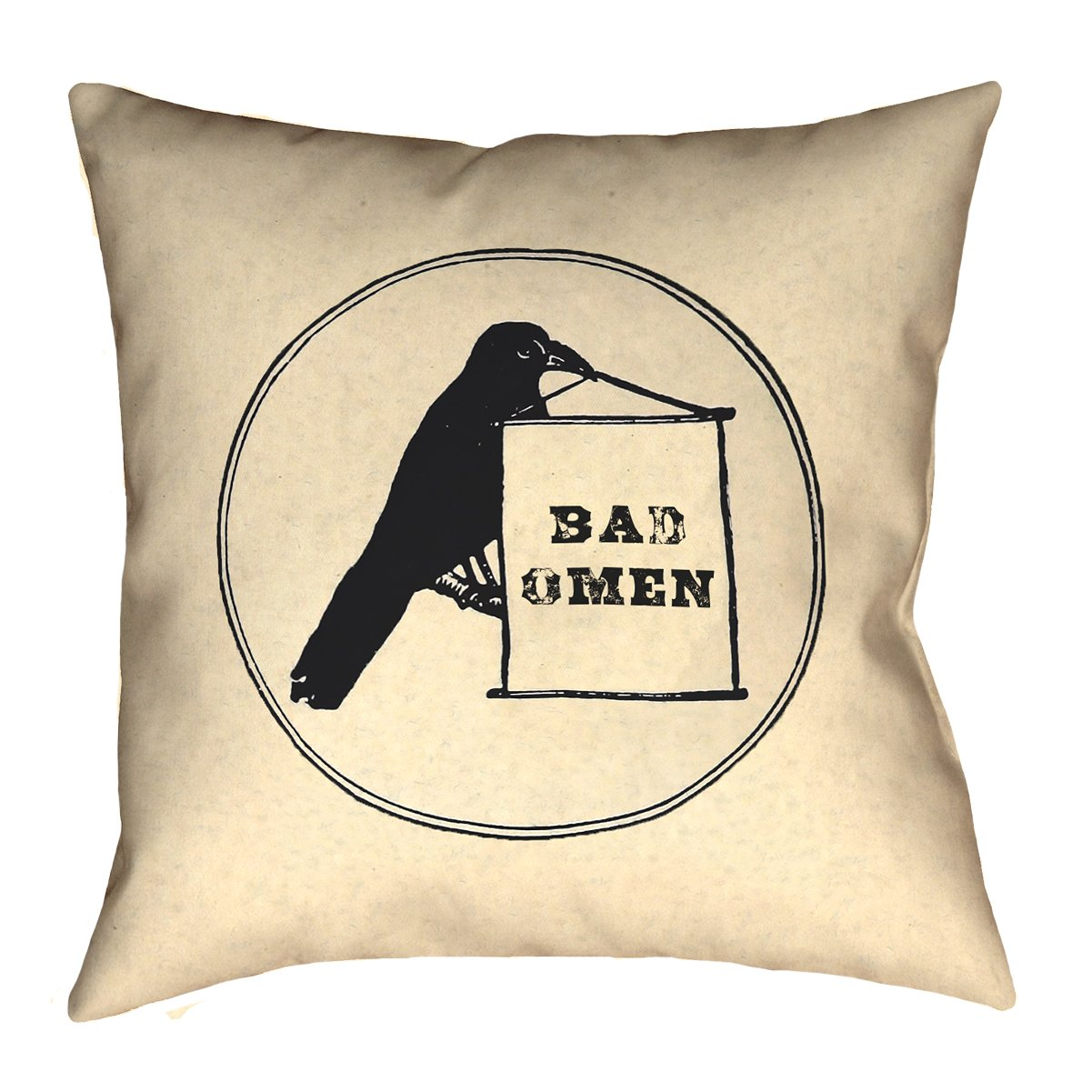 ArtVerse Katelyn Smith 20' x 20' Faux Suede Double Sided Print with Concealed Zipper & Insert Bad Omen Raven Pillow