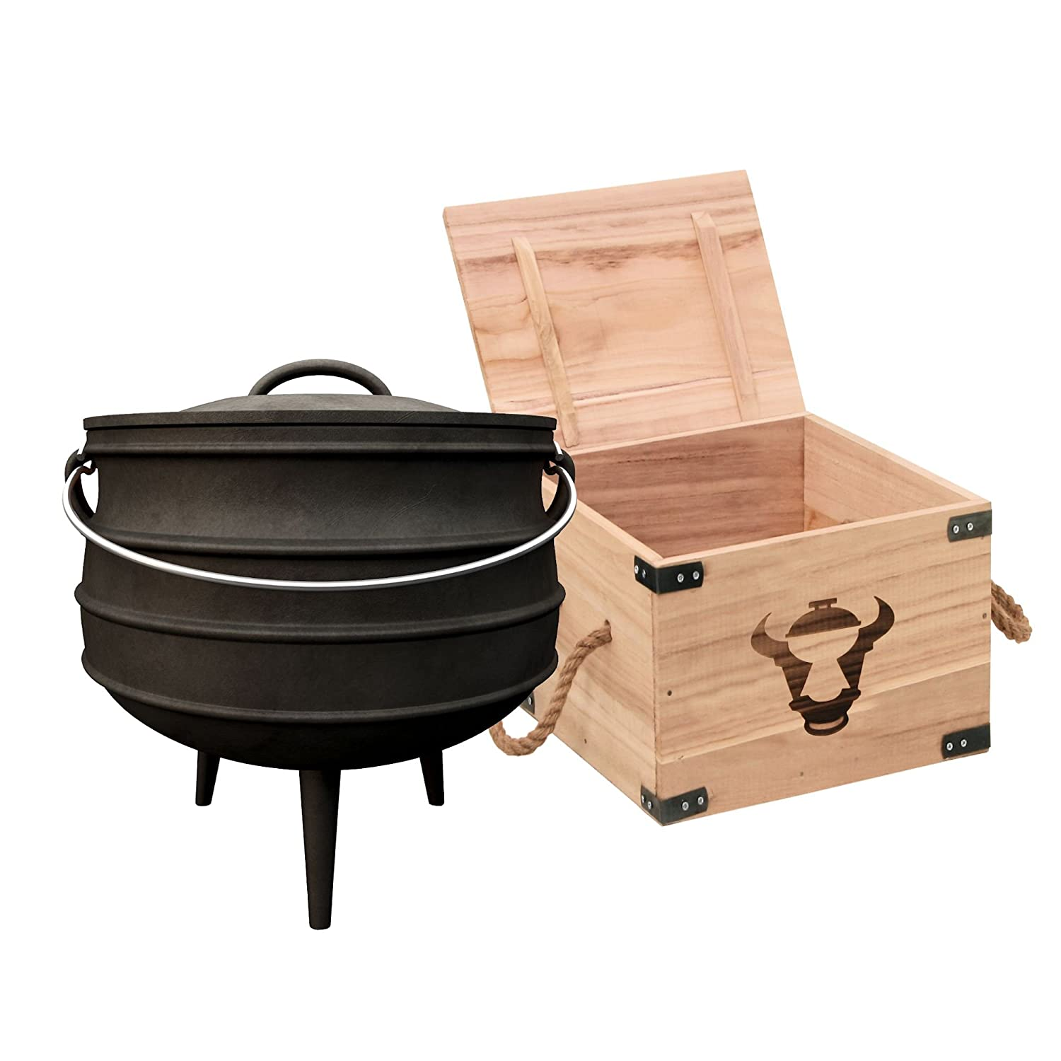 Cast Iron Potjie # 3 – Cooking Pot in Wooden Box – approx. 8 L, South African Dutch Oven cs-trading