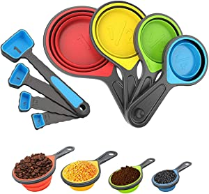 RubonC Measuring Cups and Spoons Set, 8 Pieces Collapsible Portable Durable Spoons with Cup Set for Liquid and Dry Food Measurement Used for Weight Loss and Perfect Recipe