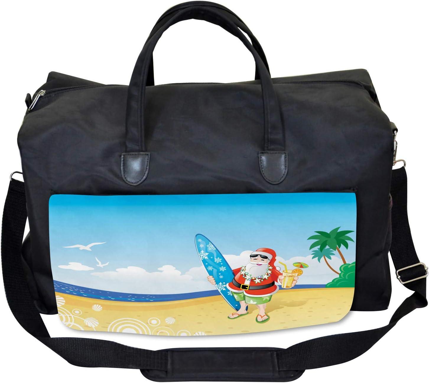 Santa on Beach Surf Ambesonne Christmas Gym Bag Large Weekender Carry-on