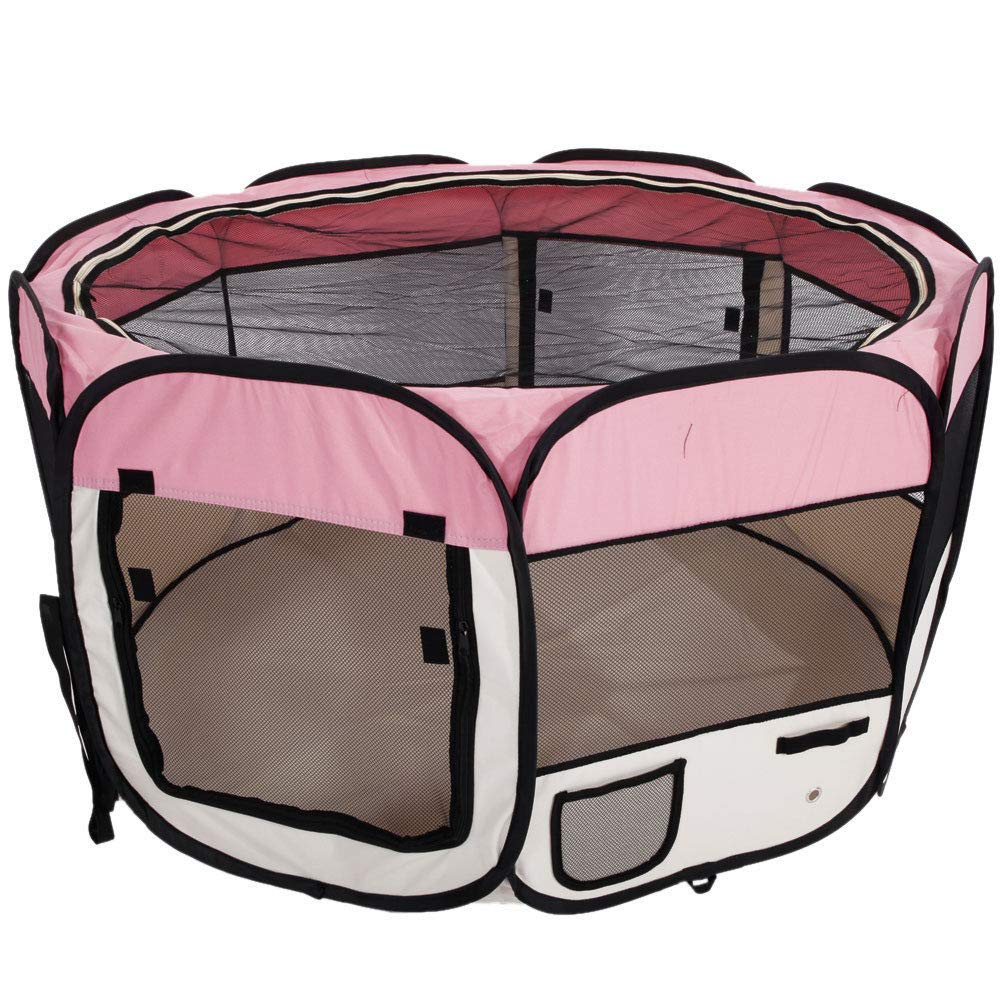 Baby Playpen PlayYard Folding Portable withTravel Bag Indoor Outdoor Pet Fence Puppy 45'' (Pink)