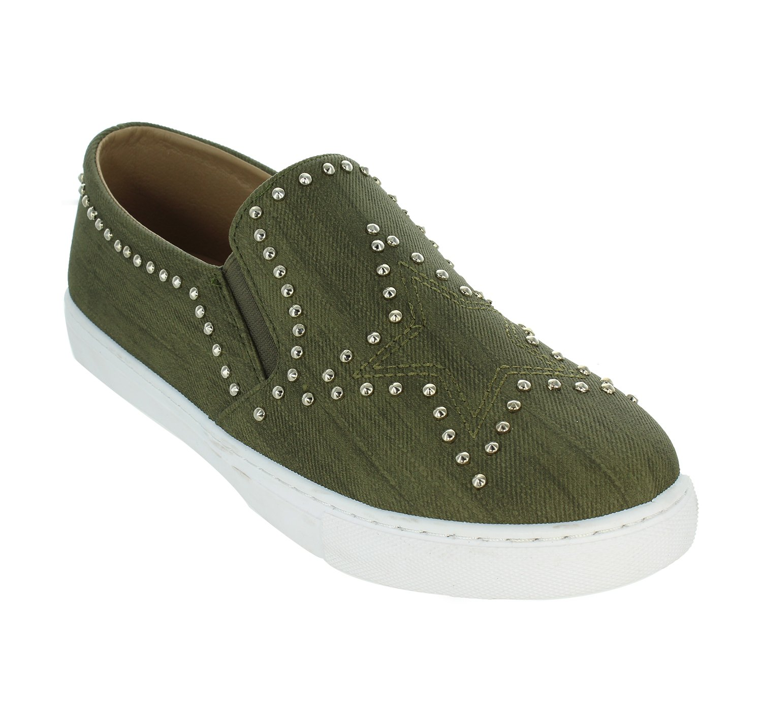 Only U Star Pattern Denim Metal Studs Slip On Flat Sneaker B077Y4TG91 7.5 B(M) US|Khaki