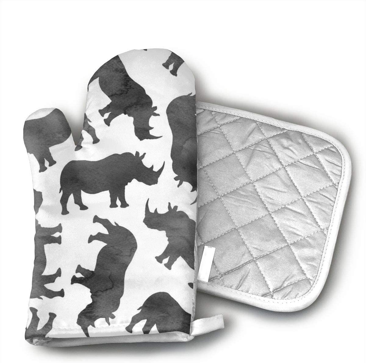Wiqo9 Watercolor Rhinos Oven Mitts and Pot Holders Kitchen Mitten Cooking Gloves,Cooking, Baking, BBQ.