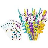 Reusable Unicorn Straws-Unicorn Birthday Party Supplies-Plastic Drinking Straws for Girls Unicorn Birthday Party Decorations,