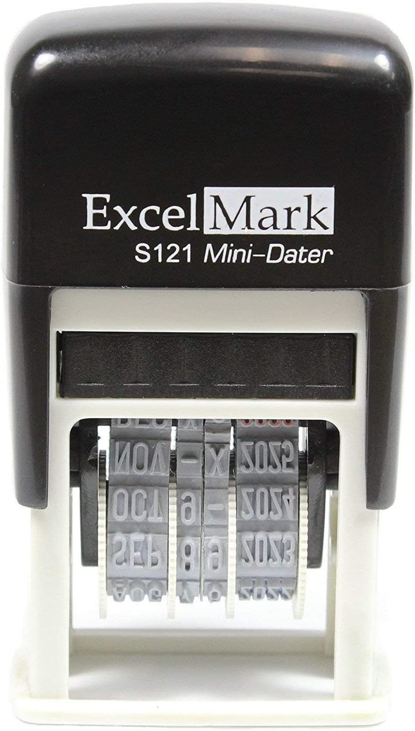 ExcelMark Self-Inking Date Stamp - Military Style / Euro Style - S121 (Black Ink)