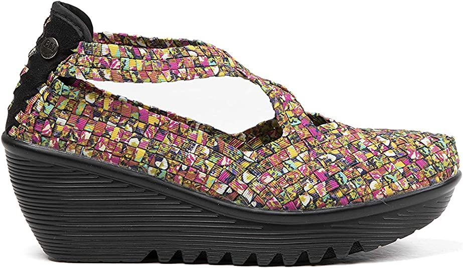 B M BERNIE MEV NEW YORK Womens Queen Wedge Sandals Queen es una cu/ña Mercedita de 6cm de Altura con Planta de Memory Foam
