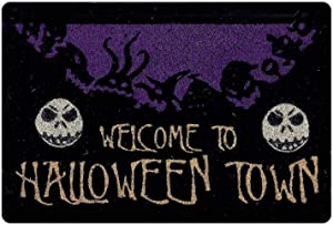 POLERO Scary Spooks Dark Doormat with Golden Welcome to Halloween Town Letters Door Mat Strong Durable Gate Pad Rubber Back Non Skid Soft Pedestal Mat Rug for Inside Outside Entryways Home Décor