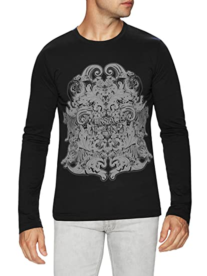 001bd5312e90 Amazon.com  Versace Jeans Logo Long Sleeve T Shirt, Black (XL)  Clothing