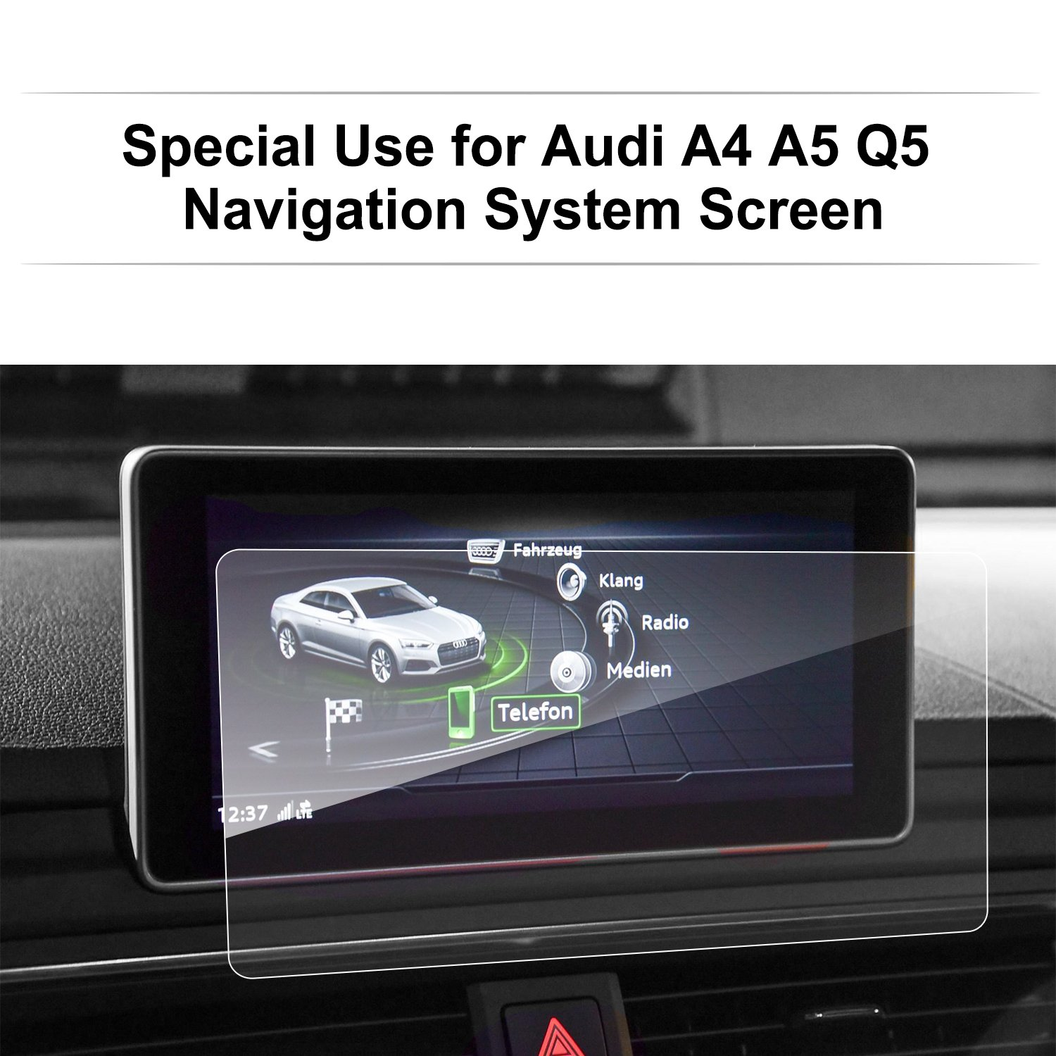 LFOTPP Audi A4 A5 Q5 8.3 Inch 2017 2018 Glass Car Navigation Screen Protector, [9H] Clear Tempered Glass Infotainment Center Touch Screen Protector Anti Scratch High Clarity