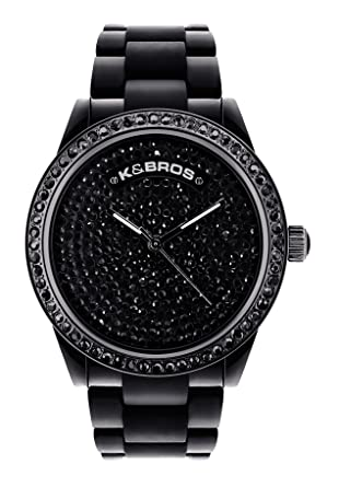 Buy K BROS Women s 9538-1 Ice-Time Full Stones Black Watch Online at Low  Prices in India - Amazon.in 65d128d737