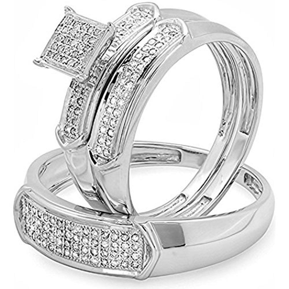 Silvercz Jewels 1/3 CT Diamond 14k White Gold Fn Men's & Women's Micro Pave Engagement Trio Set