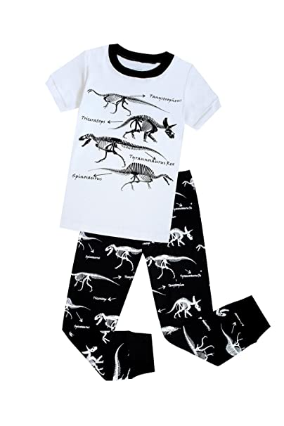 Little Boys Pajamas Dinosaur 100% Cotton 2 Piece Kids Sleepwear Toddler Clothes Pants Set 5T