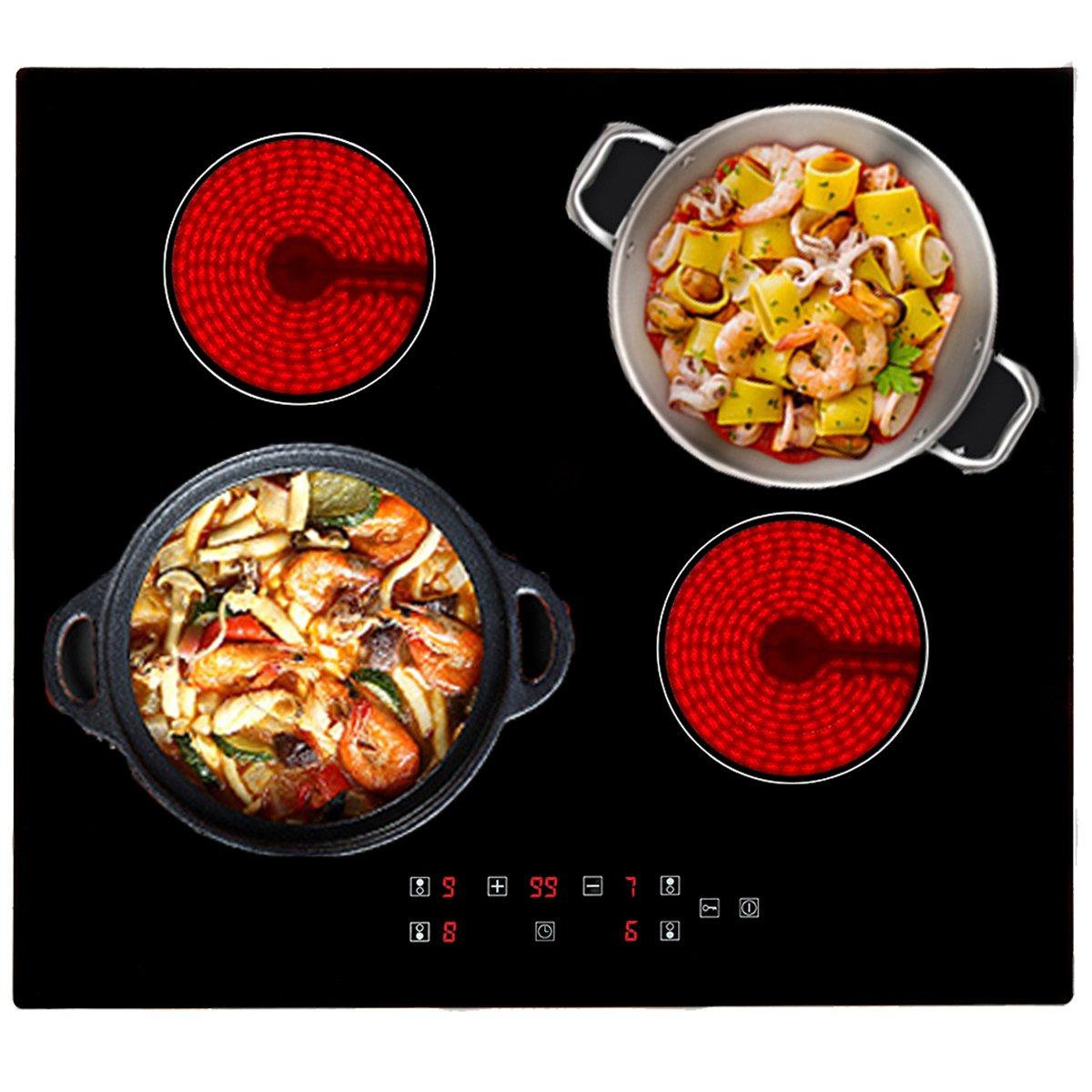 60 cm 4 zona cerámica pomo de cocina de cristal negro ...