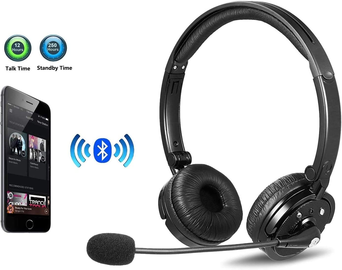Bluetooth Headphones with Microphone LUXMO Wireless Bluetooth Headset [Noise Cancelling & Listen to Music] with Mic Car Phone Headset for iPhone Android Cellphone Office Call Center Skype Truck Driver