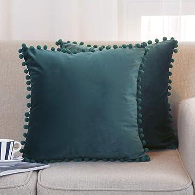Jerry Fabrics Set of 2 Soft Velvet Solid Decorative Throw Pillow Cover with Pom Poms Home Decor Design Set Cushion Case for Sofa Bedroom 18×18 Inch(45×45 cm) (A5-Velvet-Dark Green)